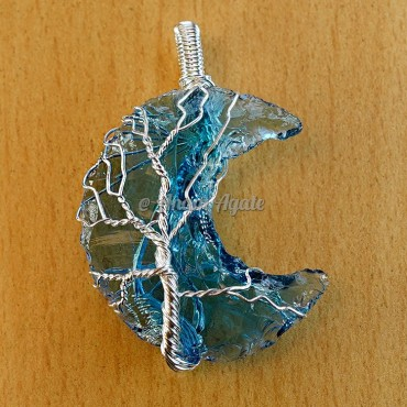 Blue Glass Tree Of Life Wire Wrapped Pendants