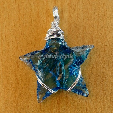 Blue Star Wire Wrapped Pendants
