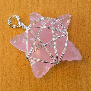 Pink Glass Star Pentagram Wire Wrapped Pendant
