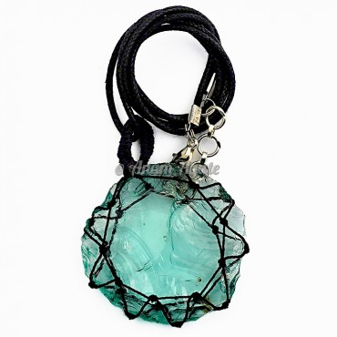 Green Glass Macrame Wrapped Pendants