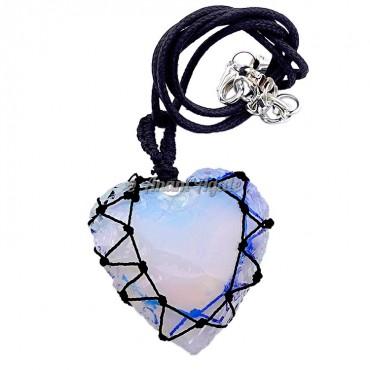 Glass Heart Macrame Wrapped Pendants A