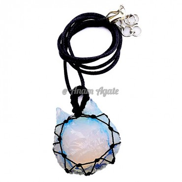 Opalite Kitty Macrame Wrapped Pendants
