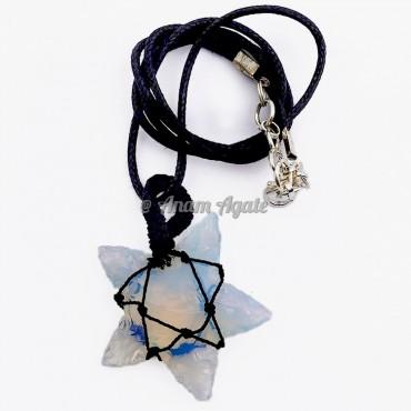 Opalite Star Macrame Wrapped Pendants
