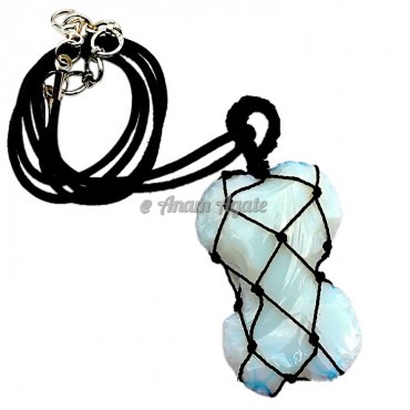 Opalite Bone Macrame Wrapped Pendants