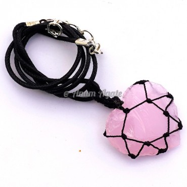 Rose Heart Macrame Wrapped Pendants