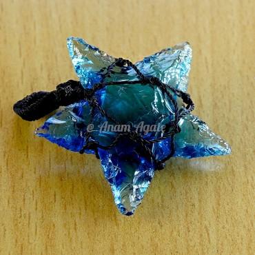 Blue Glass Star Macrame Wrapped Pendants