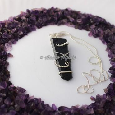 Black Tourmaline Flat Gemstone Wire Wrap Pendants