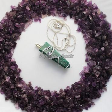 Green Jade Flat Gemstone Wire Wrap Pendants