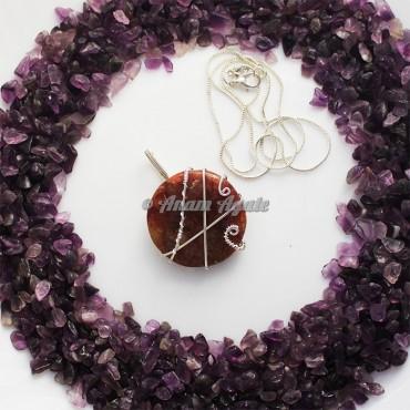 Peach Aventurine Wire Wrap Gemstone Pendant