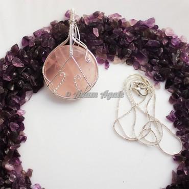 Rose Quartz Wire Wrap Gemstone Pendant