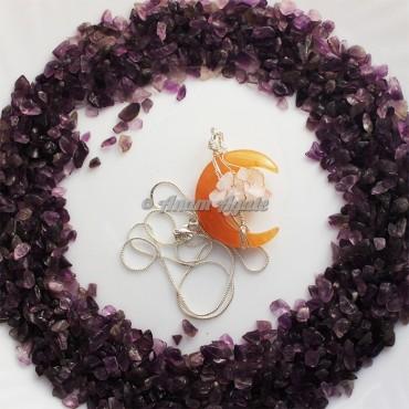 Peach Aventurine Moon with Tree of Life Wire Wrap Gemstone Pendant