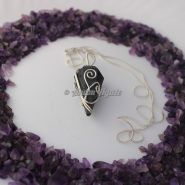 Hematite Wire Wrap Gemstone Pendant