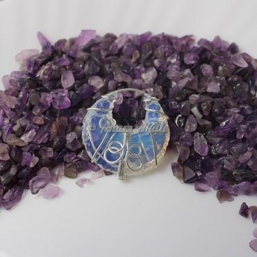 Opalite Moon Wire Wrap Gemstone Pendant