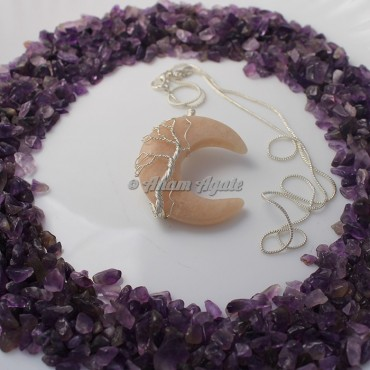Golden Quartz Moon Tree of Life Wire Wrap Gemstone Pendant