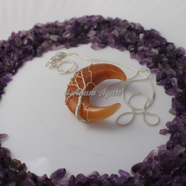 Peach Aventurine Moon Tree of Life Wire Wrap Gemstone Pendant
