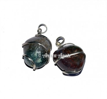 Green Moss Agaet Tumbled Pendants