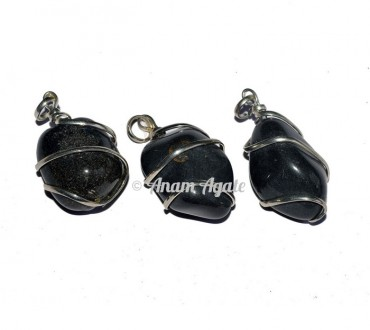 Black Agate Tumbled Pendants