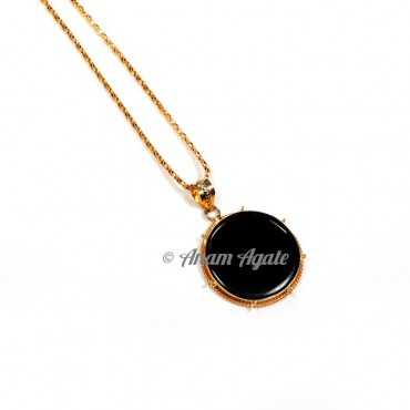 Black Jasper Round Disc Pendants