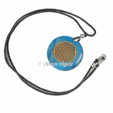 Blue Onyx Flower of Life Pendants