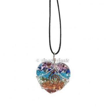 Orgonite Chakra Heart Wire Wrap Pendants