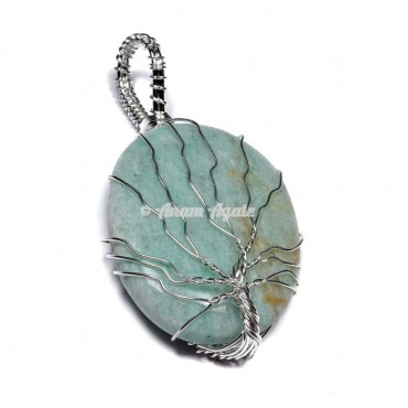 Amazonite Tree of Life Wrap Pendant