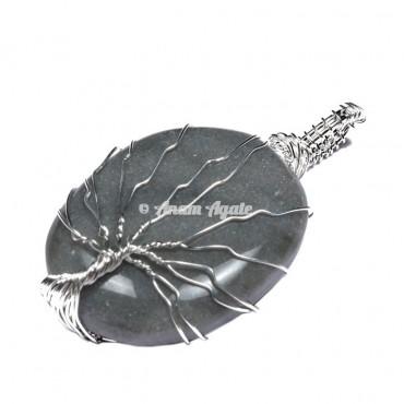 Grey Agate Tree of Life Wrap Pendant