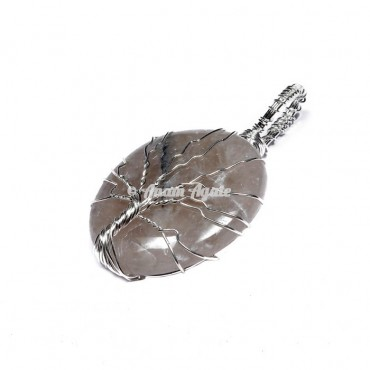Rose Quartz Tree of Life Wrap Pendant