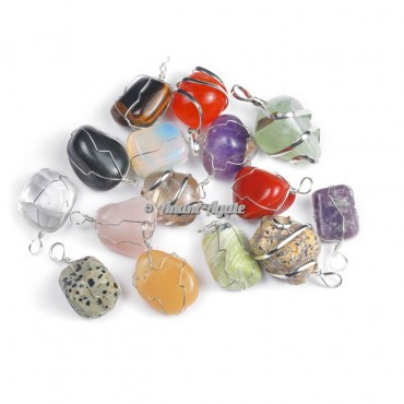 Multi Stones Wire Wrap Tumbled Pendants
