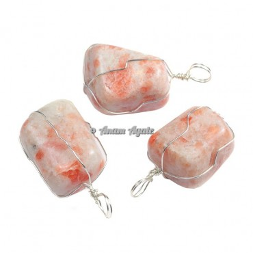 Sunstone Wire Wrap Tumbled Pendants
