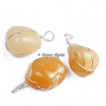 Golden Quartz Wire Wrap Tumbled Pendants