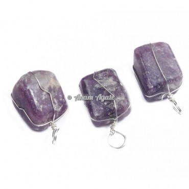 Amethyst Wire Wrap Tumbled Pendants