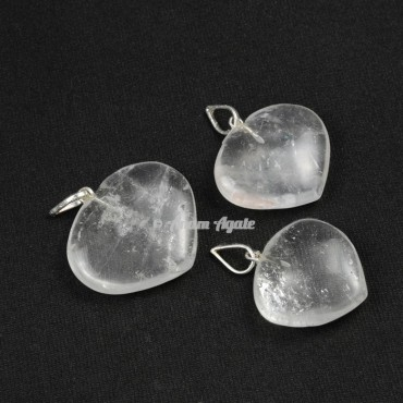 Crystal Quartz Heart Shape Pendants