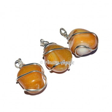 Yellow Agate Tumbled Pendants