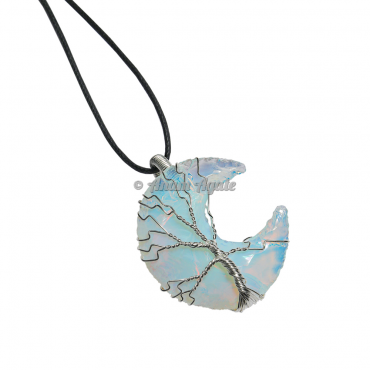 Opalite Moon Tree Of Life Wire Wrapped Healing Pendant