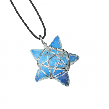 Opalite Star Pentagram Wire Wrapped Healing Pendant