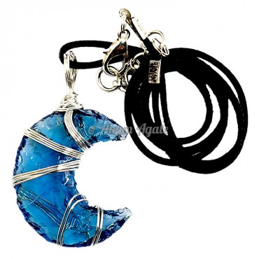 Blue Glass Moon Wire Wrapped Healing Pendant