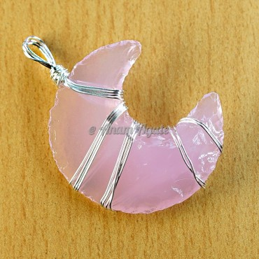 Rose Glass Moon Wire Wrapped Pendant A