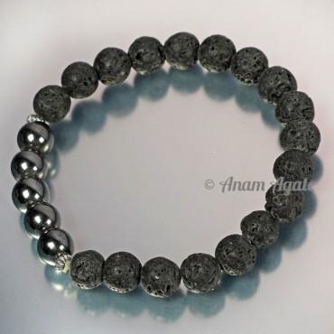 Lava With Hematite Bracelets