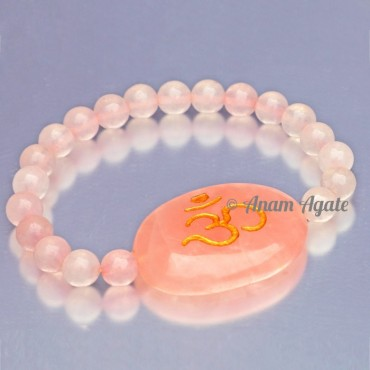 Rose Quartz with Om Engraved Bracelets