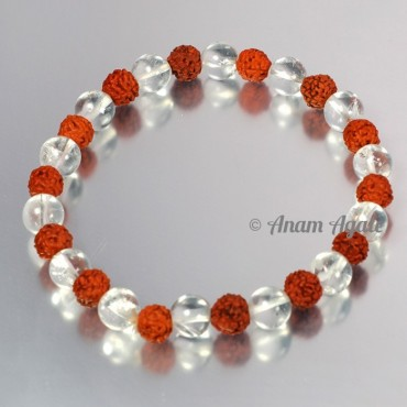 Crystal Quartz with Rudraksha Bracelets