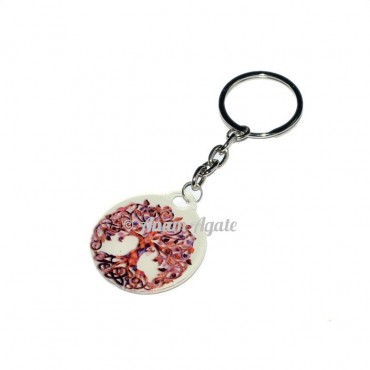 Tree of Life Agate Keyring