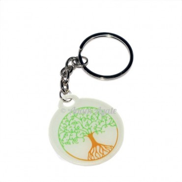 Tree Of Life Round Shape Design Keyring