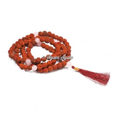 Rudraksha Rose Quartz Japa Mala