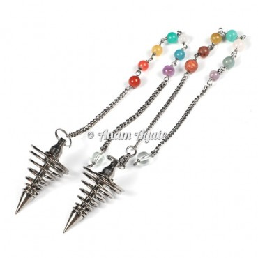 Spiral Silver Chakra Healing Brass Pendulums
