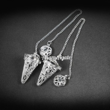 Chakra Cage Silver Brass Pendulums