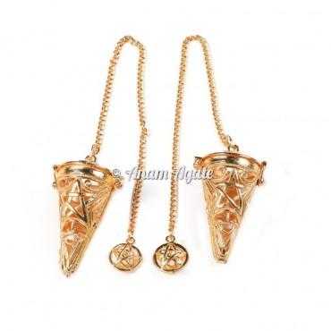 Star Cage Golden Chakra Pendulums