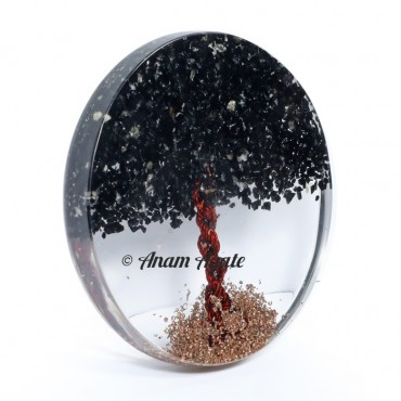 Black Tourmaline Tree of Life Healing Coaster