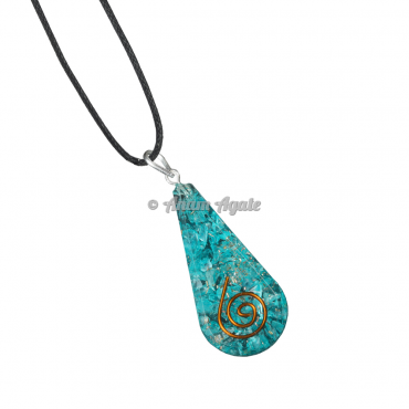 Aqua Orgonite Drop Pendant EMF Protection