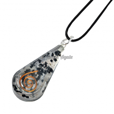 Black Tourmaline Orgonite Drop Pendant EMF Protection