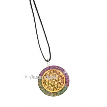 Amethyst and Green Flower of life Pendants